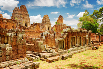 Wall Mural - Mysterious ruins of ancient East Mebon temple, Angkor, Cambodia