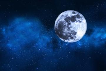 cielo estrellado con la luna llena