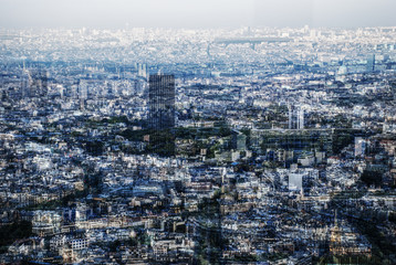 Multiple exposure panorama of Paris, France
