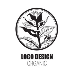 Vector design elements for organic natural logo - tree from flowers