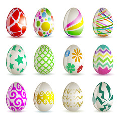 Set of 12 different Easter eggs