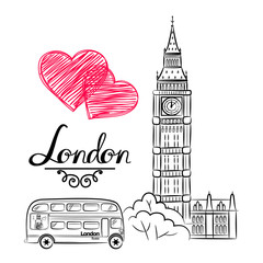hand sketch World famous landmark collection : Big Ben London, England. Vector illustration