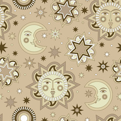 Vector seamless background with sun and stars.