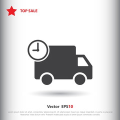 Truck with time, fast delivery icon