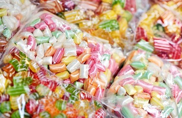 Mixed colorful caramels