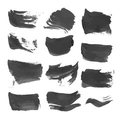 Abstract realistic strokes painted with black liquid paint 1