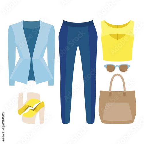 7b09cc3a4a6c7 Set of trendy women's clothes. Outfit of woman jacket, panties, top and  accessories. Women's wardrobe. Vector illustration