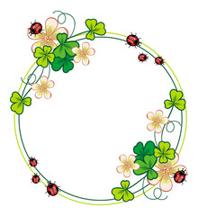 Round color frame with clover and ladybirds