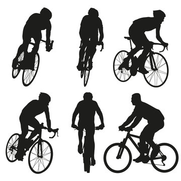 Cycling silhouettes, set of vector cyclist