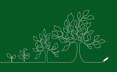 Tree growing continuous line design vector.