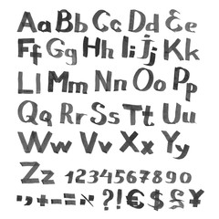 Handwritten font with currency symbols and figures