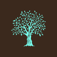 Beautiful green oak tree silhouette on brown background. Infographic modern vector sign.  Premium quality illustration logo design concept