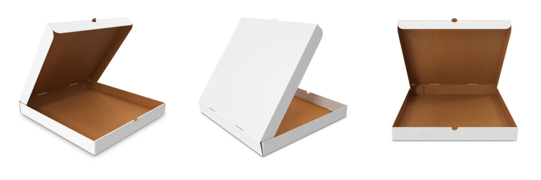 Realistic 3d pizza cardboard box. Open, side view.