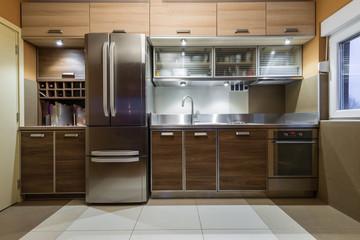 Luxury kitchen interior brown colored