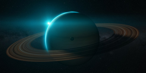 Wall Mural - planet saturn with rings at sunrise on the space background