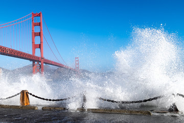 Golden Gate Bridge. Dramatic big ocean waves