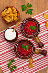 Borscht. Traditional Russian and Ukrainian national food - red beet soup. Selective focus.