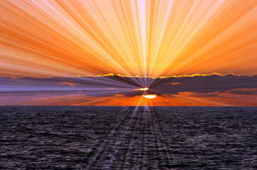 Wall Mural - Ocean Sunset Sunrays