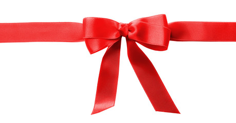 Horizontal ribbon with bow, isolated on white