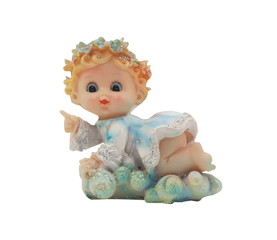 Isolated baby angel toy photo. Isolated pretty little angel toy photo