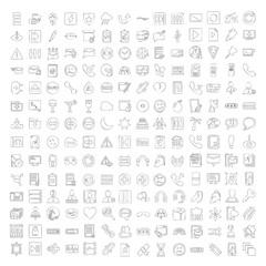 Media Hand Drawn line icon set