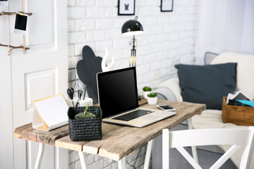 Modern monochrome workplace on light background
