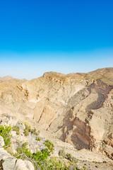 Ridge view of Jabal Akhdar in Al Hajar Mountains, Oman. This place is 2,000 meters above sea level.