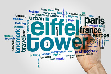 Eiffel tower word cloud concept