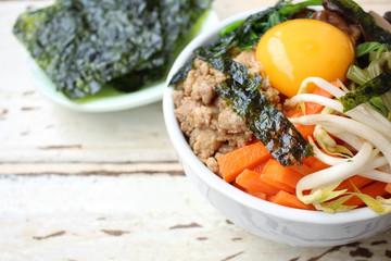Bibimbap with seaweed korean food