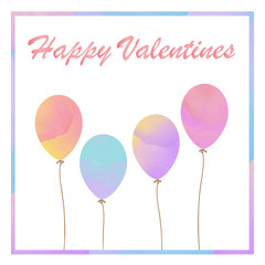Colorful pastel watercolor style of Valentines card. Balloons card for Valentine.