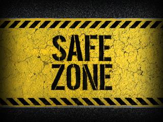 Safe Zone concept : paint on asphalt road