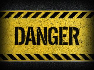 Danger concept : paint on asphalt road