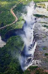 An aerial view of Victoria Falls taken while on a helicopter tour (The Flight of Angels).