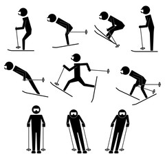men doing ski moves infographic icon vector sign symbol pictogram