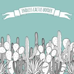 Endless succulent cactus border