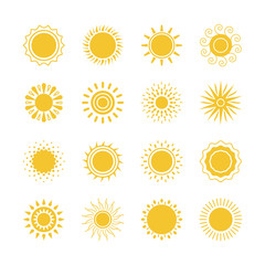 Vector yellow sun symbols. Sun and sunshine icons collection on white background