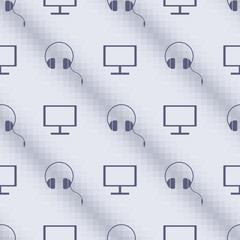 Seamless vector pattern, blue symmetrical background with PC monitors and headphones. Series of Technology Seamless Patterns