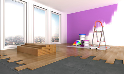 modern flooring and paint jobs