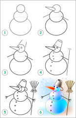 Page shows how to learn step by step to draw a snowman. Developing children skills for drawing and coloring. Vector image.
