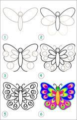 Page shows how to learn step by step to draw a butterfly. Developing children skills for drawing and coloring. Vector image.