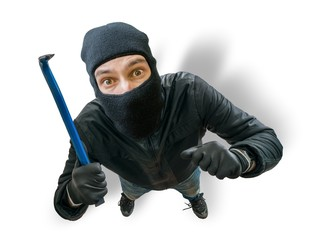 Funny masked robber or thief. View from top or from hidden camera.