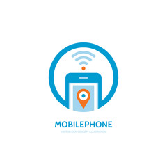 Mobile location vector logo concept illustration. Smarthone vector logo creative design. Mobile technology logo. Cellpnone logo. Wi-fi mobile phone logo design. GPS location in smartphone.