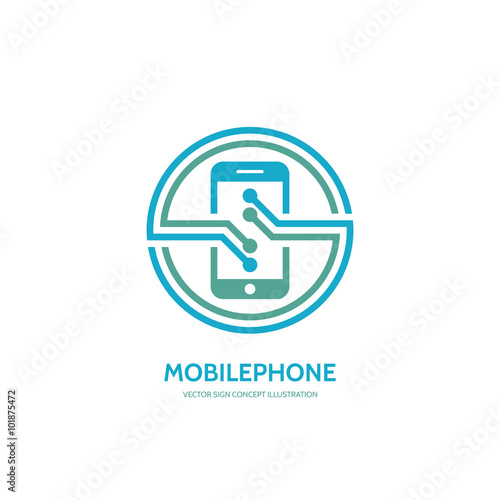 """Mobile phone vector logo concept illustration. Smarthone ..."