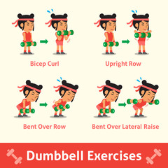 Cartoon set of woman doing dumbbell exercise step for health and fitness