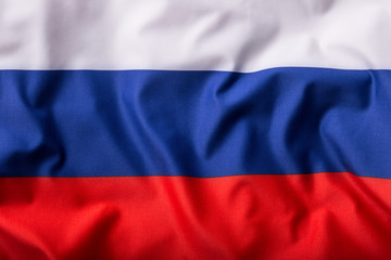 Russian flag waving in the wind.