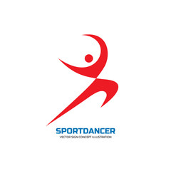 Sport dance - vector logo concept illustration. Human character logo. Dancer sign. Gymnastic logo. Human minimalism logo. Karate logo. Dance logo sign. Sport logo sign. Fitness logo minimal sign.