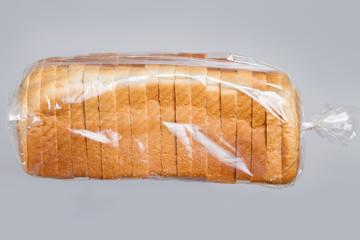 Bread in plastic bag.