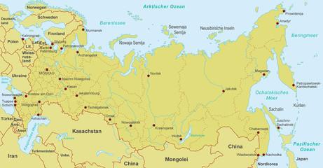 Karte von Russland - Orange (detailliert)