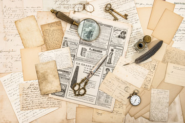 Antique office accessories, old letters and postcards