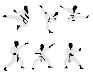 Six karateka silhouettes
